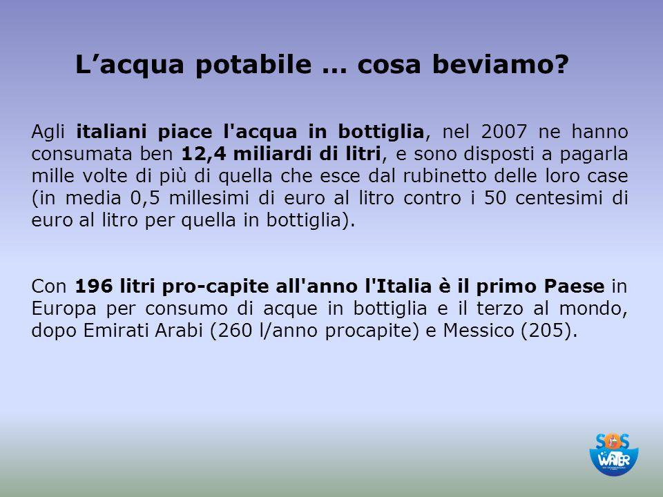 L'acqua potabile … cosa beviamo? Agli italiani piace l'acqua in bottiglia, nel 2007 ne hanno consumata ben 12,4 miliardi di litri, e sono disposti a p