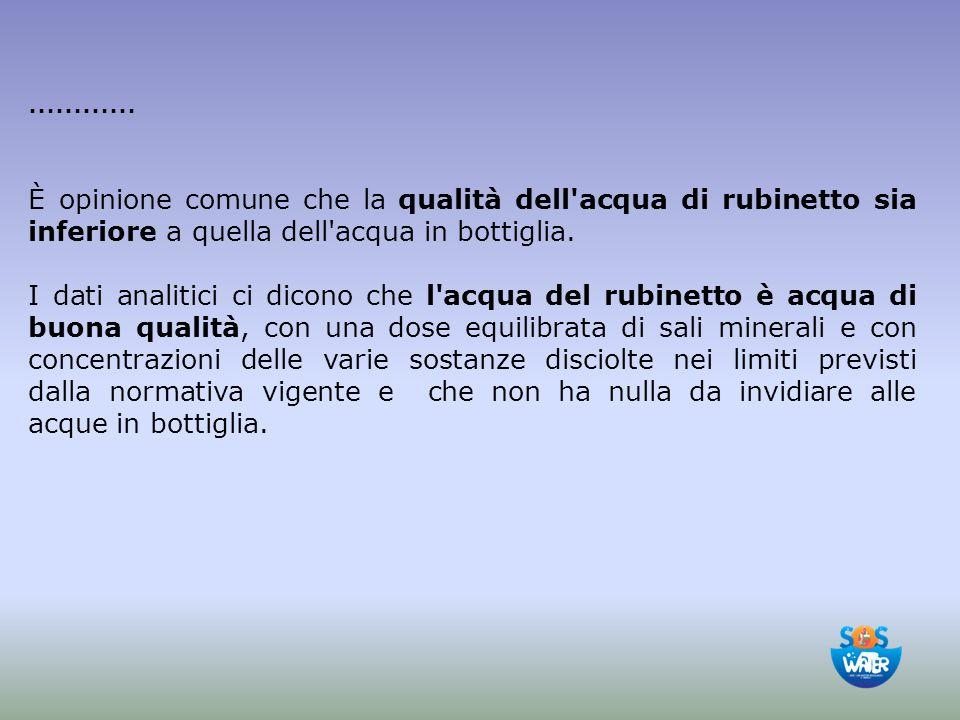 ………… È opinione comune che la qualità dell'acqua di rubinetto sia inferiore a quella dell'acqua in bottiglia. I dati analitici ci dicono che l'acqua d