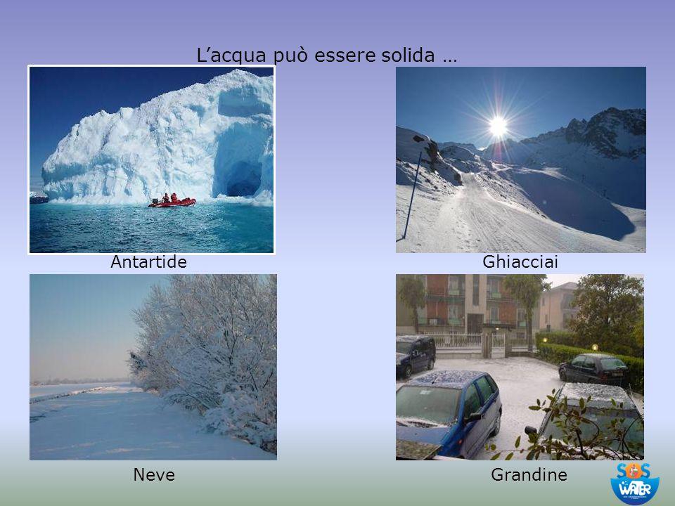 L'acqua può essere solida … Antartide Neve Ghiacciai Grandine