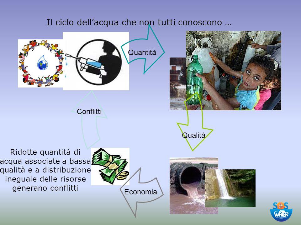 L'acqua in Italia La maggior richiesta d'acqua nazionale proviene dal Nord del Paese, ove agricoltura e industria sono maggiormente sviluppate e la densità abitativa è maggiore Nord Sud uso dell'acqua