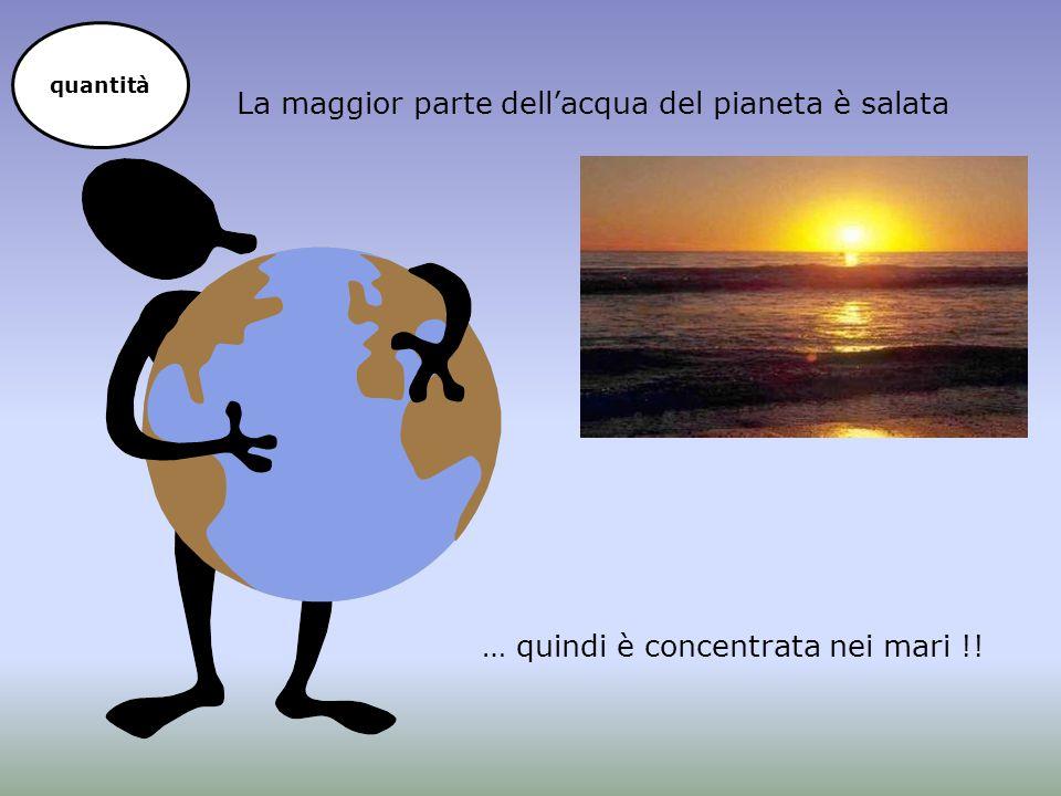 La maggior parte dell'acqua del pianeta è salata … quindi è concentrata nei mari !! quantità