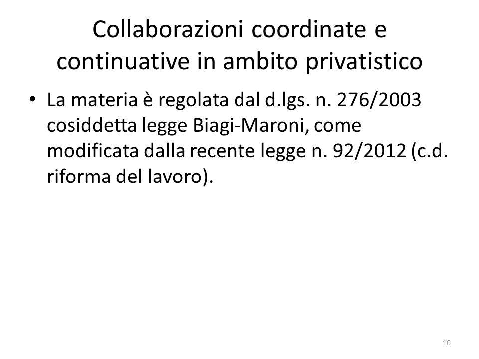 Collaborazioni coordinate e continuative in ambito privatistico La materia è regolata dal d.lgs. n. 276/2003 cosiddetta legge Biagi-Maroni, come modif
