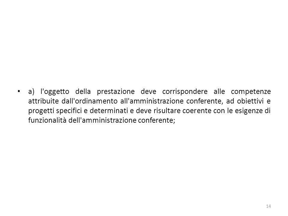 a) l'oggetto della prestazione deve corrispondere alle competenze attribuite dall'ordinamento all'amministrazione conferente, ad obiettivi e progetti