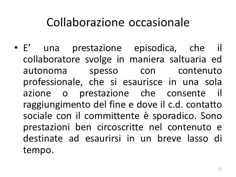 Collaborazione occasionale E' una prestazione episodica, che il collaboratore svolge in maniera saltuaria ed autonoma spesso con contenuto professiona