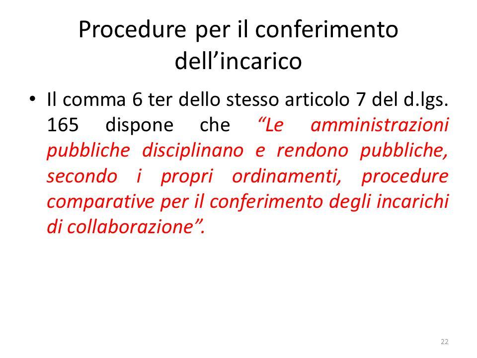 """Procedure per il conferimento dell'incarico Il comma 6 ter dello stesso articolo 7 del d.lgs. 165 dispone che """"Le amministrazioni pubbliche disciplina"""