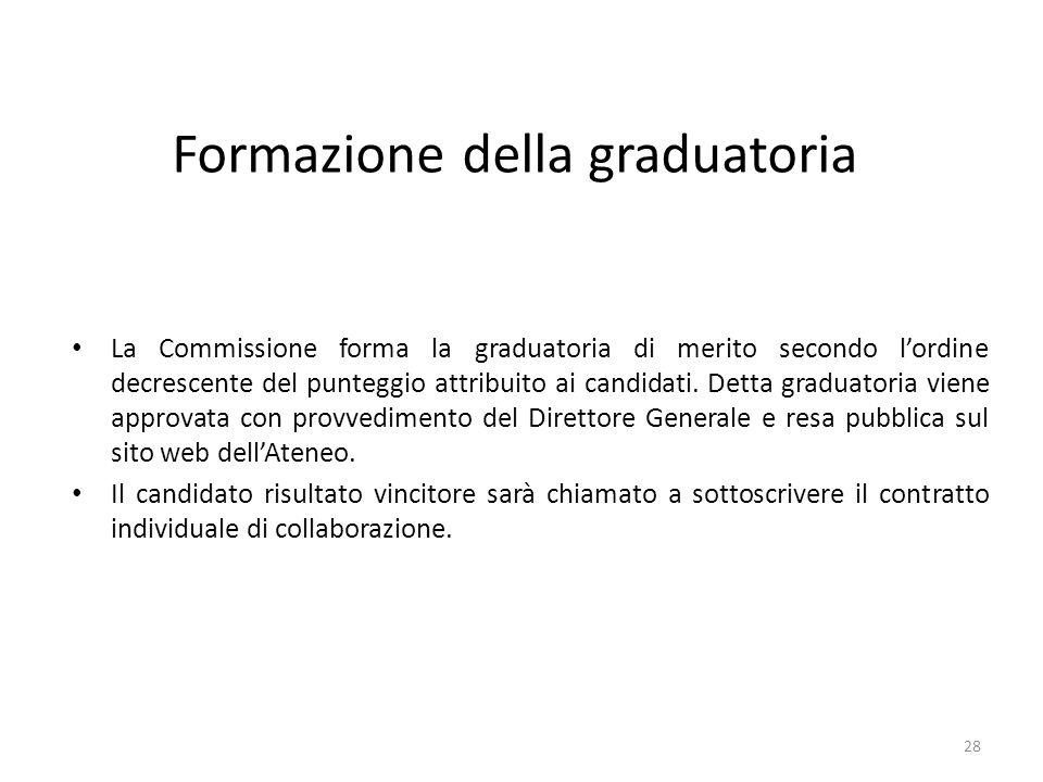 Formazione della graduatoria La Commissione forma la graduatoria di merito secondo l'ordine decrescente del punteggio attribuito ai candidati. Detta g