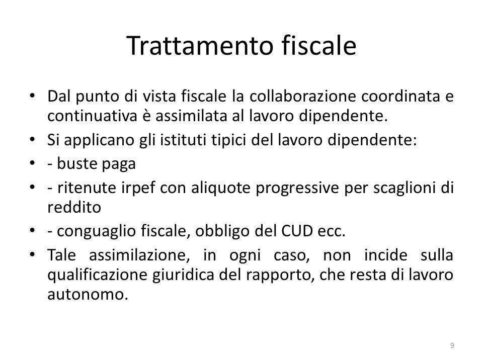 Trattamento fiscale Dal punto di vista fiscale la collaborazione coordinata e continuativa è assimilata al lavoro dipendente. Si applicano gli istitut