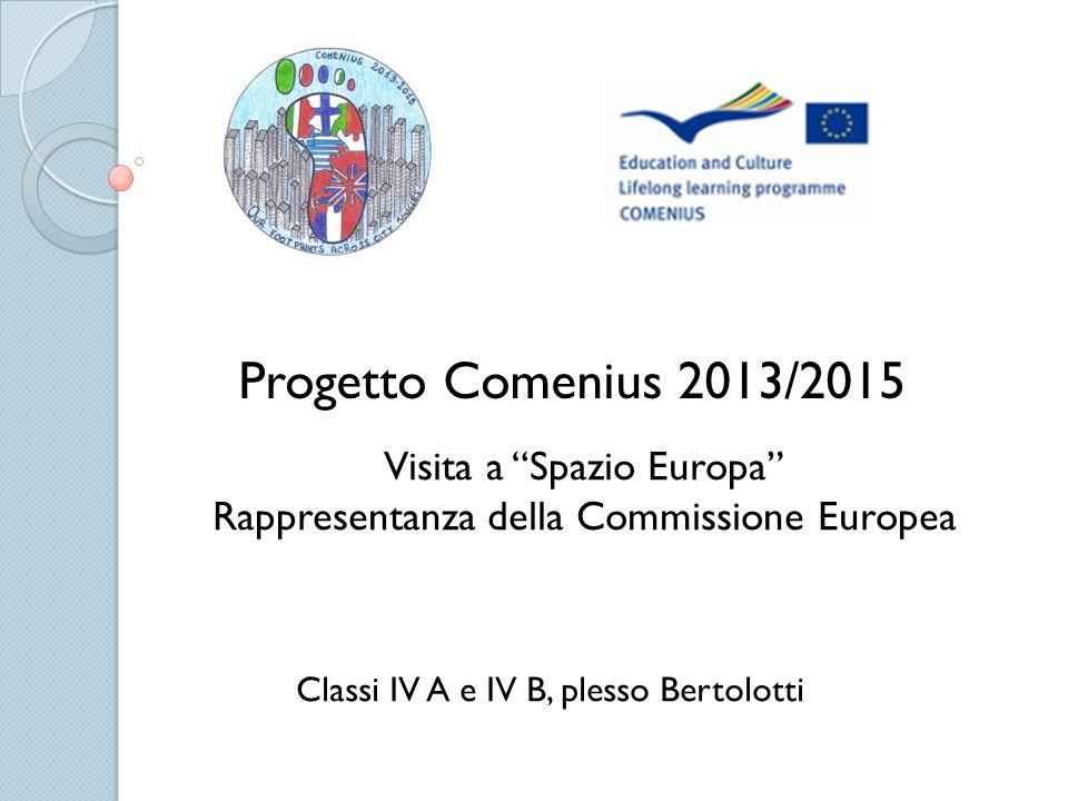 Progetto Comenius 2013/2015 Classi IV A e IV B, plesso Bertolotti Visita a Spazio Europa Rappresentanza della Commissione Europea