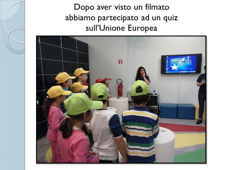 Dopo aver visto un filmato abbiamo partecipato ad un quiz sull'Unione Europea