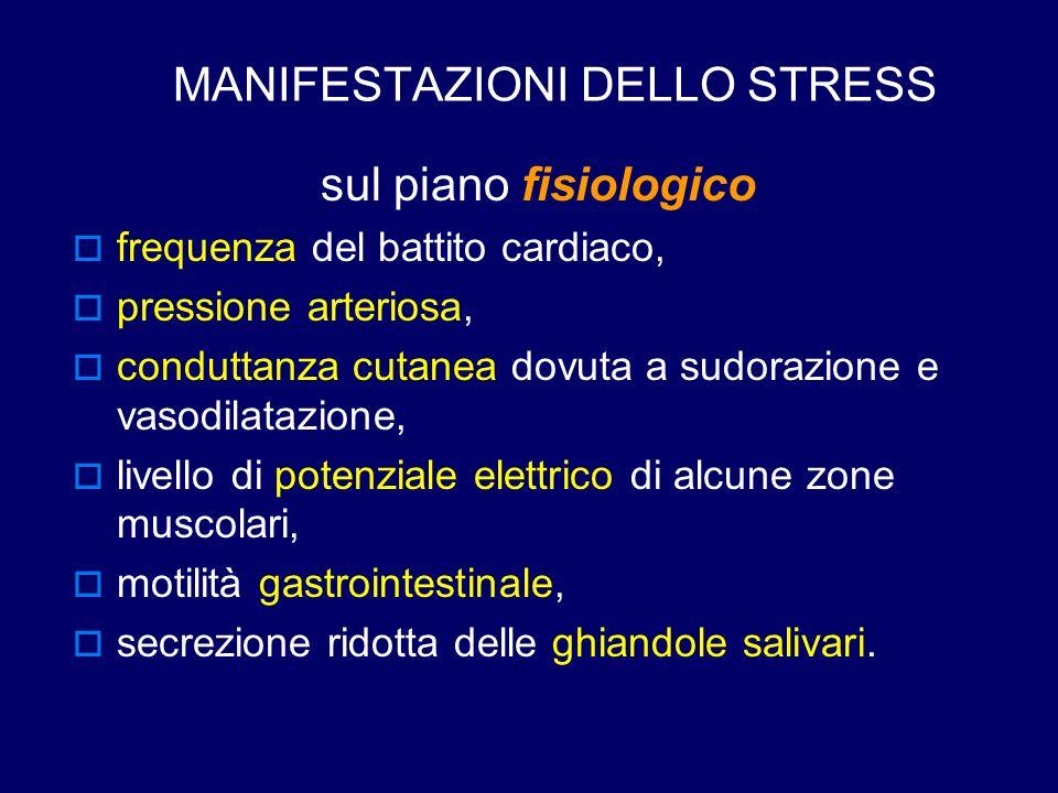 MANIFESTAZIONI DELLO STRESS sul piano fisiologico  frequenza del battito cardiaco,  pressione arteriosa,  conduttanza cutanea dovuta a sudorazione