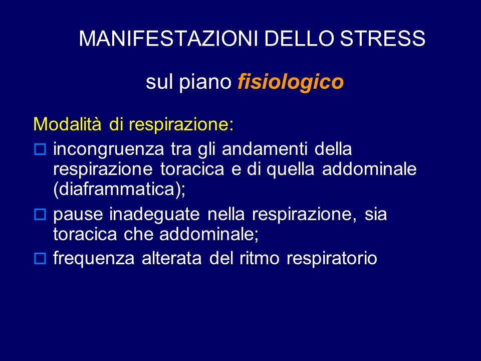 MANIFESTAZIONI DELLO STRESS sul piano fisiologico Modalità di respirazione:  incongruenza tra gli andamenti della respirazione toracica e di quella a