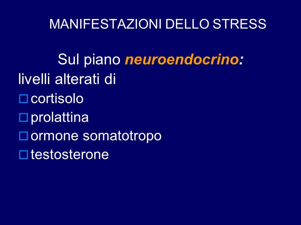 MANIFESTAZIONI DELLO STRESS Sul piano neuroendocrino: livelli alterati di  cortisolo  prolattina  ormone somatotropo  testosterone