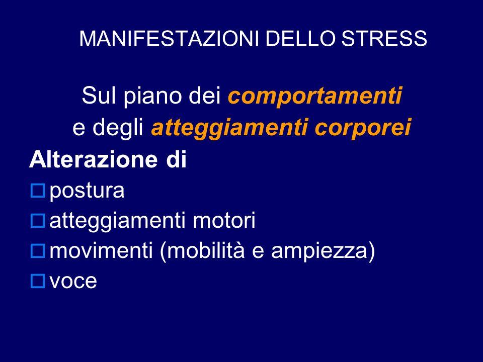 MANIFESTAZIONI DELLO STRESS Sul piano dei comportamenti e degli atteggiamenti corporei Alterazione di  postura  atteggiamenti motori  movimenti (mo