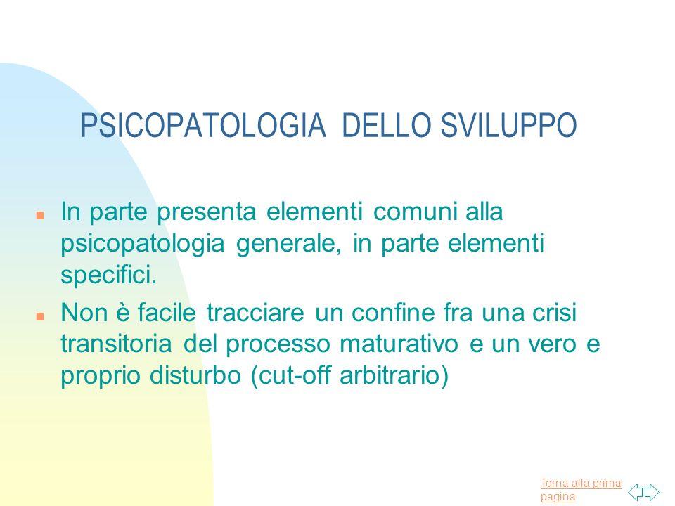 Torna alla prima pagina PSICOPATOLOGIA DELLO SVILUPPO n In parte presenta elementi comuni alla psicopatologia generale, in parte elementi specifici. n