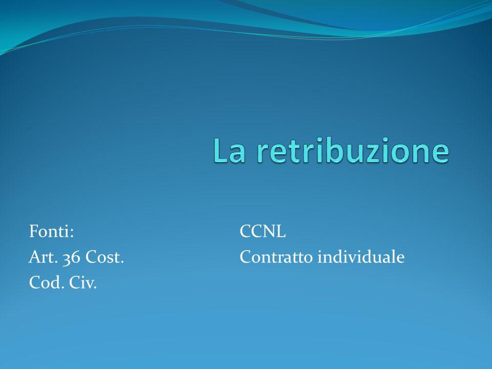 Fonti: Art. 36 Cost. Cod. Civ. CCNL Contratto individuale
