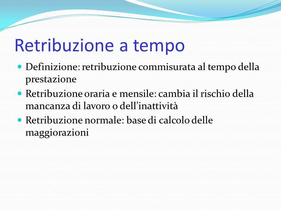 Retribuzione a tempo Definizione: retribuzione commisurata al tempo della prestazione Retribuzione oraria e mensile: cambia il rischio della mancanza