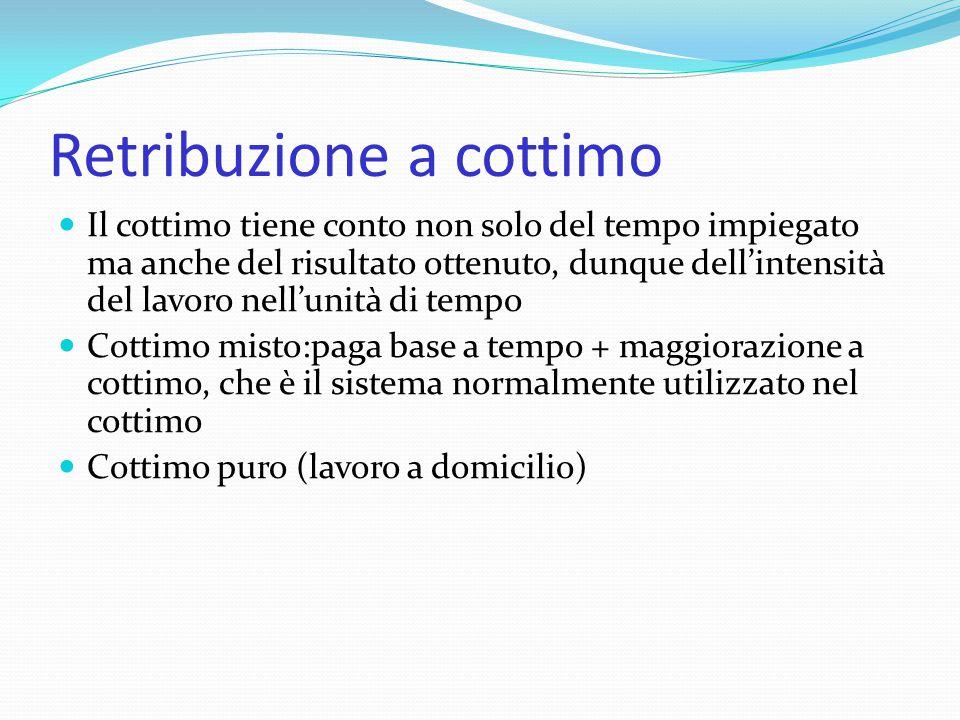 Retribuzione a cottimo Il cottimo tiene conto non solo del tempo impiegato ma anche del risultato ottenuto, dunque dell'intensità del lavoro nell'unit