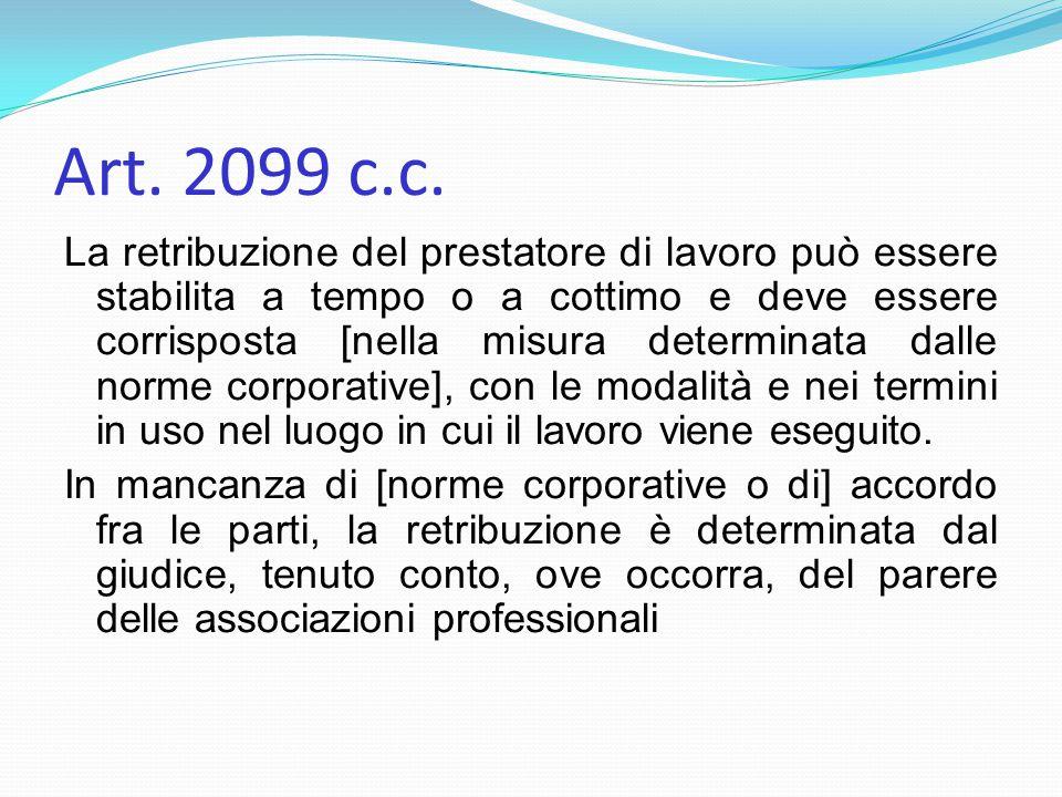 Art. 2099 c.c. La retribuzione del prestatore di lavoro può essere stabilita a tempo o a cottimo e deve essere corrisposta [nella misura determinata d