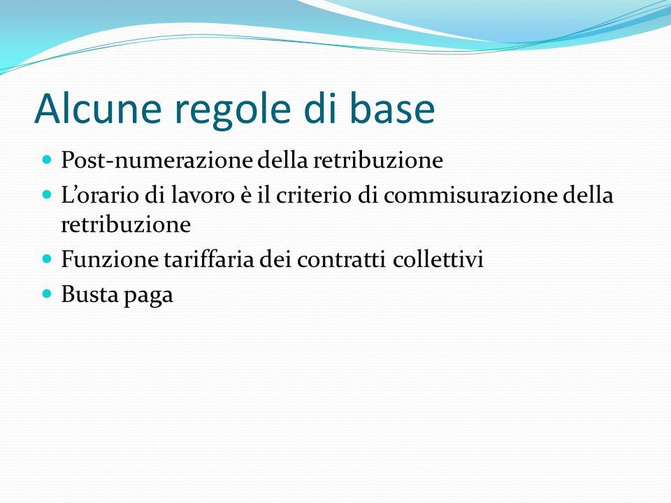 Alcune regole di base Post-numerazione della retribuzione L'orario di lavoro è il criterio di commisurazione della retribuzione Funzione tariffaria dei contratti collettivi Busta paga