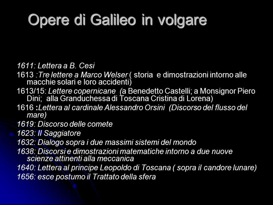 Opere di Galileo in volgare 1611: Lettera a B. Cesi 1613 :Tre lettere a Marco Welser ( storia e dimostrazioni intorno alle macchie solari e loro accid