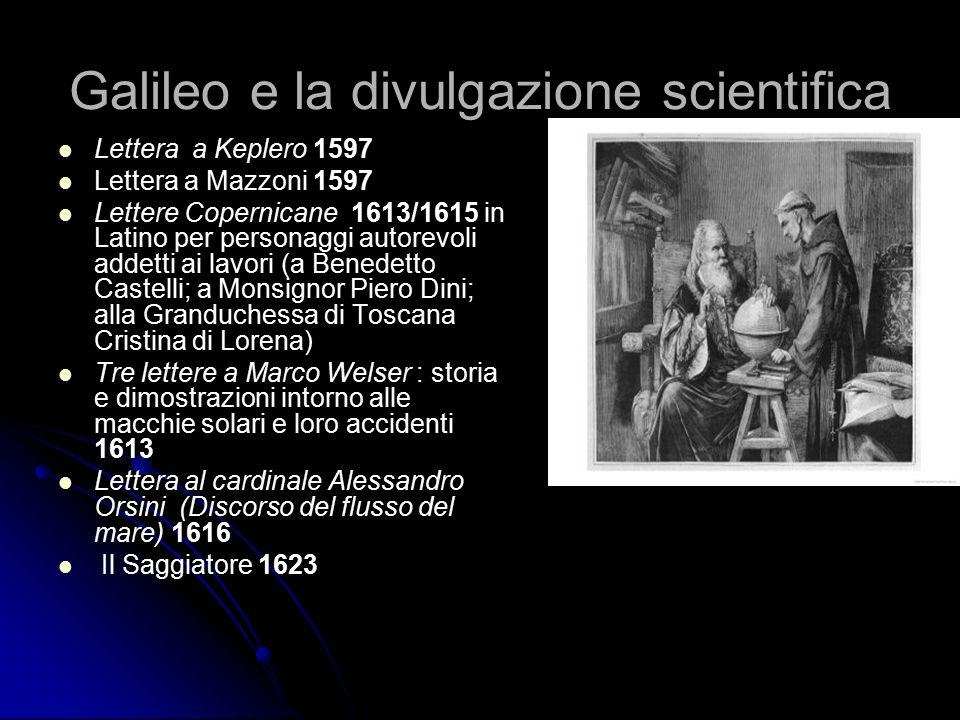 Galileo e la divulgazione scientifica Lettera a Keplero 1597 Lettera a Mazzoni 1597 Lettere Copernicane 1613/1615 in Latino per personaggi autorevoli