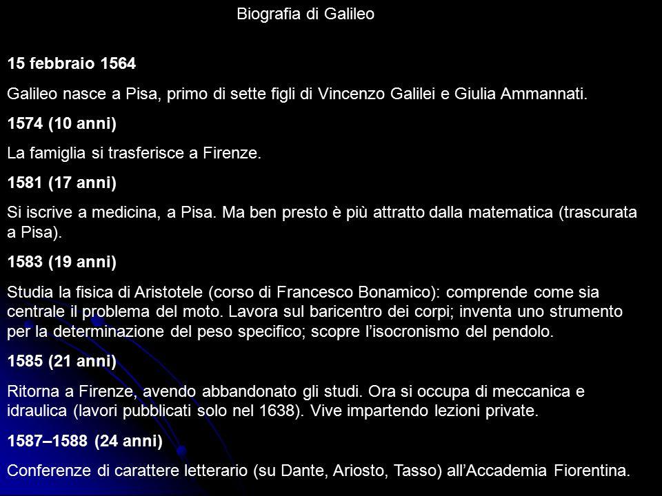 Biografia di Galileo 15 febbraio 1564 Galileo nasce a Pisa, primo di sette figli di Vincenzo Galilei e Giulia Ammannati. 1574 (10 anni) La famiglia si