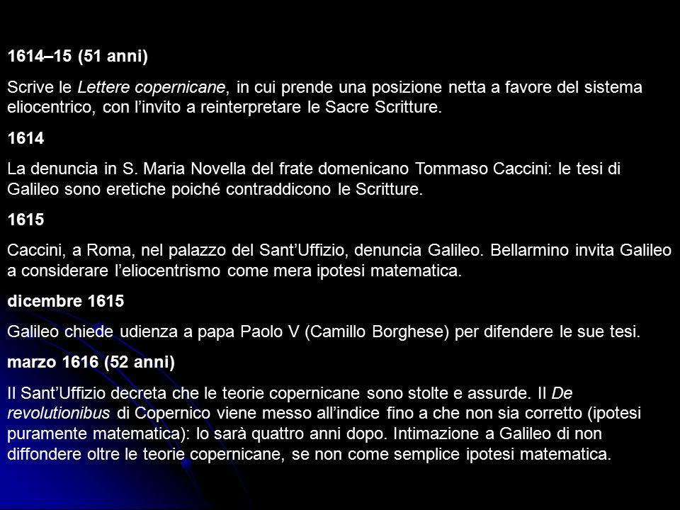 1618 (54 anni) Disputa con il gesuita Orazio Grassi sulle comete.
