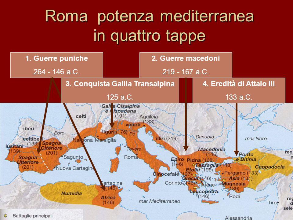Roma potenza mediterranea in quattro tappe 1.Guerre puniche 264 - 146 a.C.