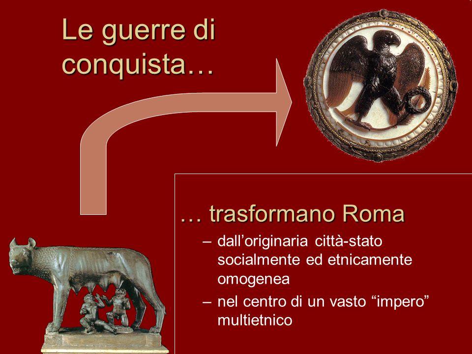 Le guerre di conquista… … trasformano Roma –dall'originaria città-stato socialmente ed etnicamente omogenea –nel centro di un vasto impero multietnico