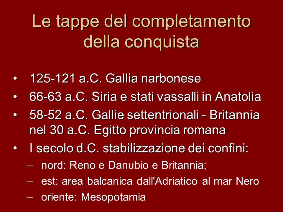Le tappe del completamento della conquista 125-121 a.C.