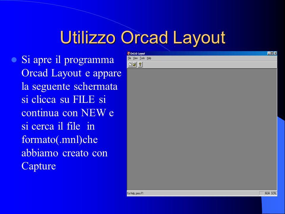 Utilizzo Orcad Layout Si apre il programma Orcad Layout e appare la seguente schermata si clicca su FILE si continua con NEW e si cerca il file in formato(.mnl)che abbiamo creato con Capture