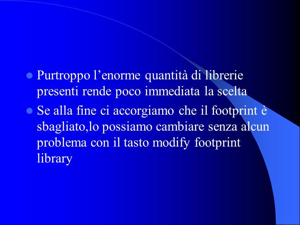 Purtroppo l'enorme quantità di librerie presenti rende poco immediata la scelta Se alla fine ci accorgiamo che il footprint è sbagliato,lo possiamo cambiare senza alcun problema con il tasto modify footprint library