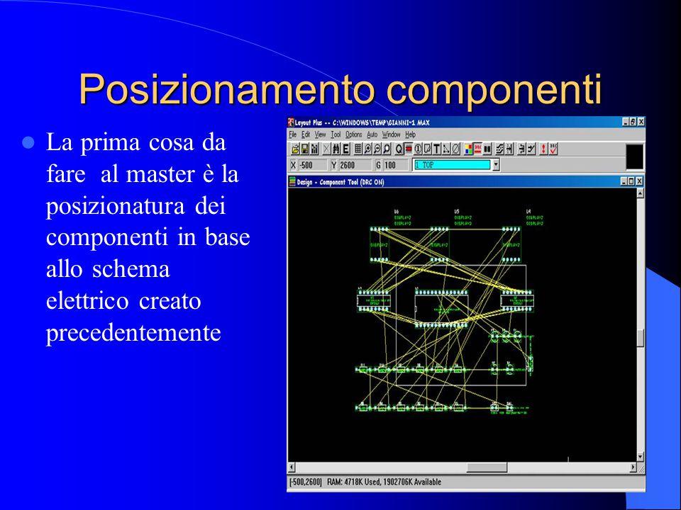 Posizionamento componenti La prima cosa da fare al master è la posizionatura dei componenti in base allo schema elettrico creato precedentemente