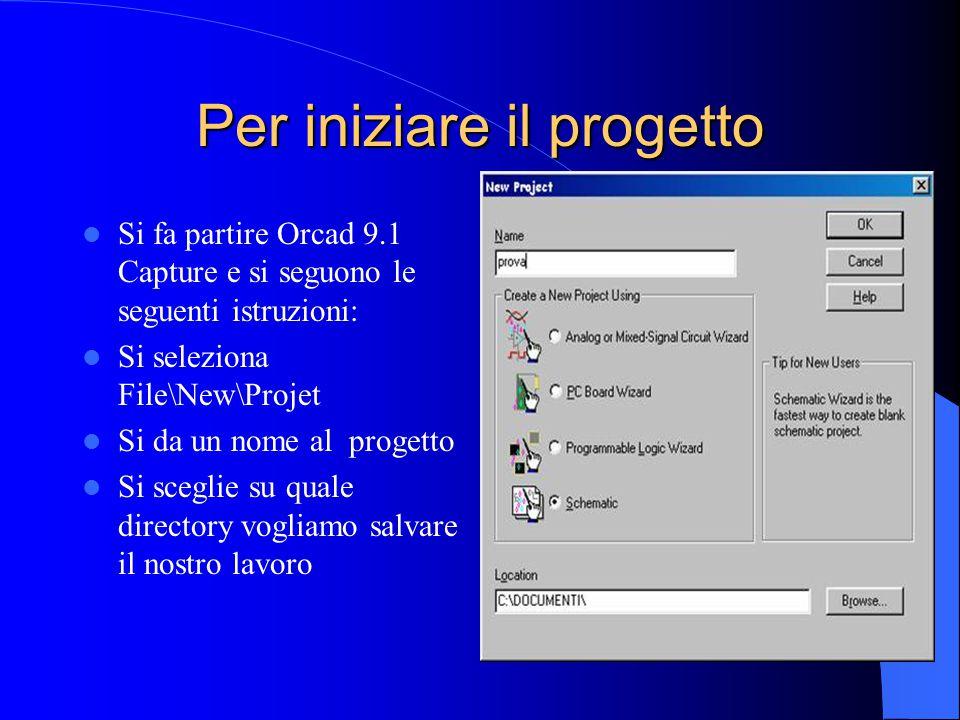 Per iniziare il progetto Si fa partire Orcad 9.1 Capture e si seguono le seguenti istruzioni: Si seleziona File\New\Projet Si da un nome al progetto Si sceglie su quale directory vogliamo salvare il nostro lavoro