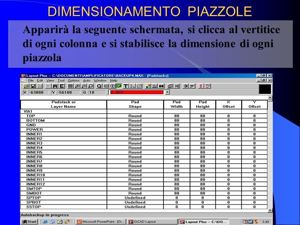 DIMENSIONAMENTO PIAZZOLE Apparirà la seguente schermata, si clicca al vertitice di ogni colonna e si stabilisce la dimensione di ogni piazzola