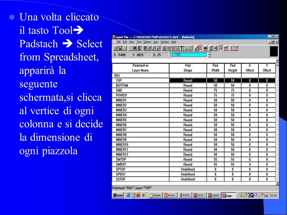 Una volta cliccato il tasto Tool  Padstach  Select from Spreadsheet, apparirà la seguente schermata,si clicca al vertice di ogni colonna e si decide la dimensione di ogni piazzola