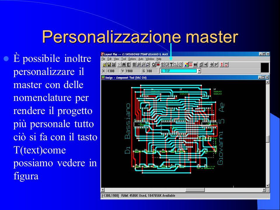 Personalizzazione master È possibile inoltre personalizzare il master con delle nomenclature per rendere il progetto più personale tutto ciò si fa con il tasto T(text)come possiamo vedere in figura