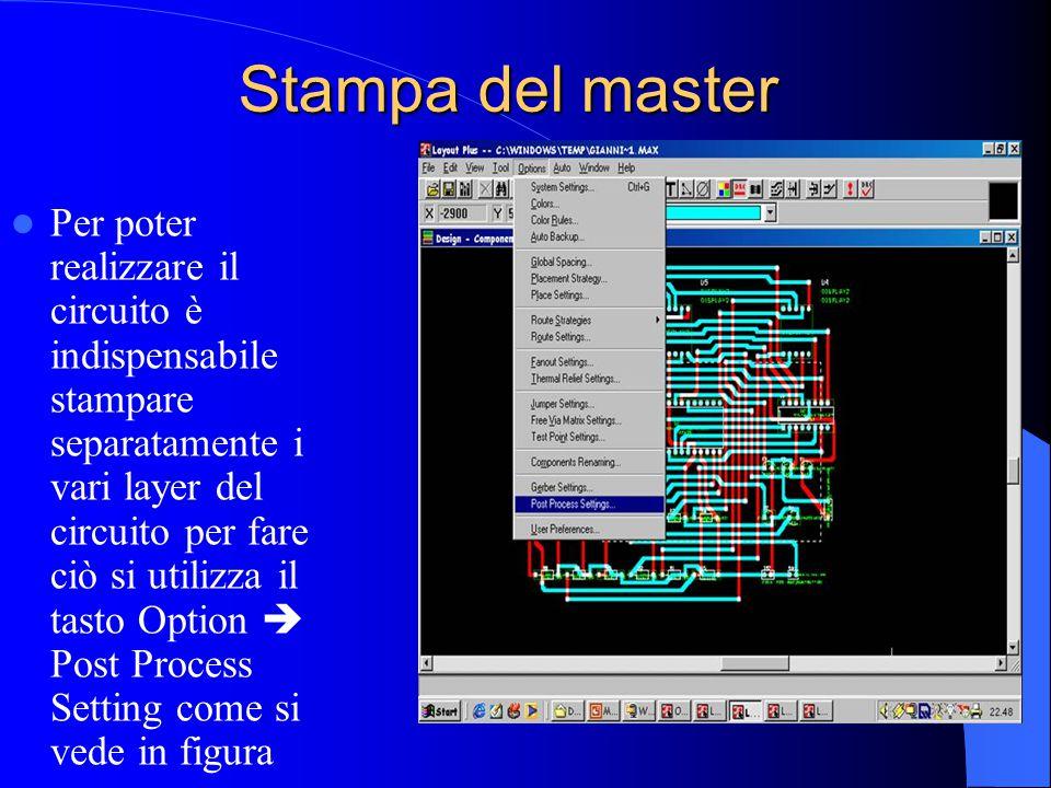 Stampa del master Per poter realizzare il circuito è indispensabile stampare separatamente i vari layer del circuito per fare ciò si utilizza il tasto Option  Post Process Setting come si vede in figura