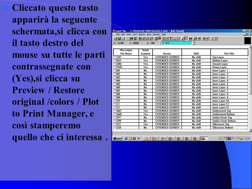 Cliccato questo tasto apparirà la seguente schermata,si clicca con il tasto destro del mouse su tutte le parti contrassegnate con (Yes),si clicca su Preview / Restore original /colors / Plot to Print Manager, e così stamperemo quello che ci interessa.
