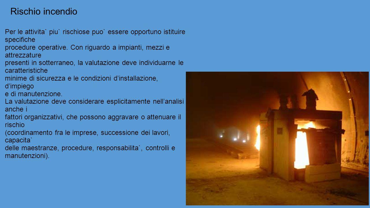 Rischio incendio Per le attivita` piu` rischiose puo` essere opportuno istituire specifiche procedure operative.