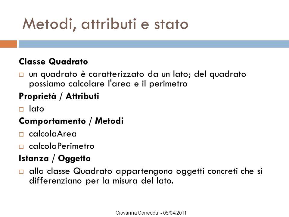 Giovanna Correddu - 05/04/2011 Metodi, attributi e stato Classe Quadrato  un quadrato è caratterizzato da un lato; del quadrato possiamo calcolare l'