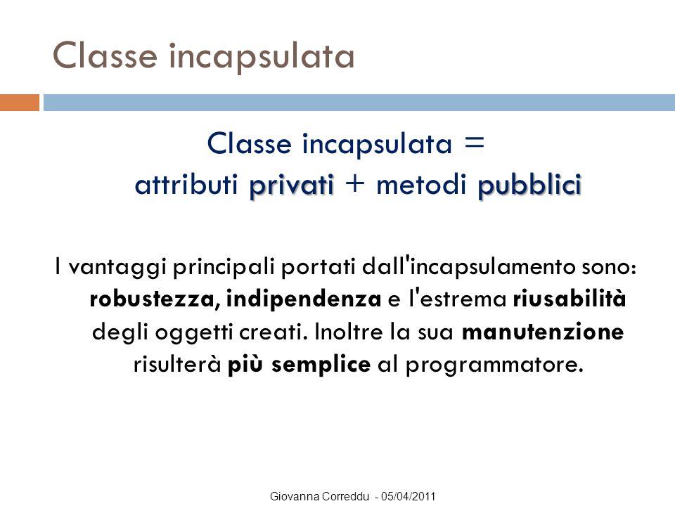 Giovanna Correddu - 05/04/2011 Classe incapsulata privatipubblici Classe incapsulata = attributi privati + metodi pubblici I vantaggi principali porta