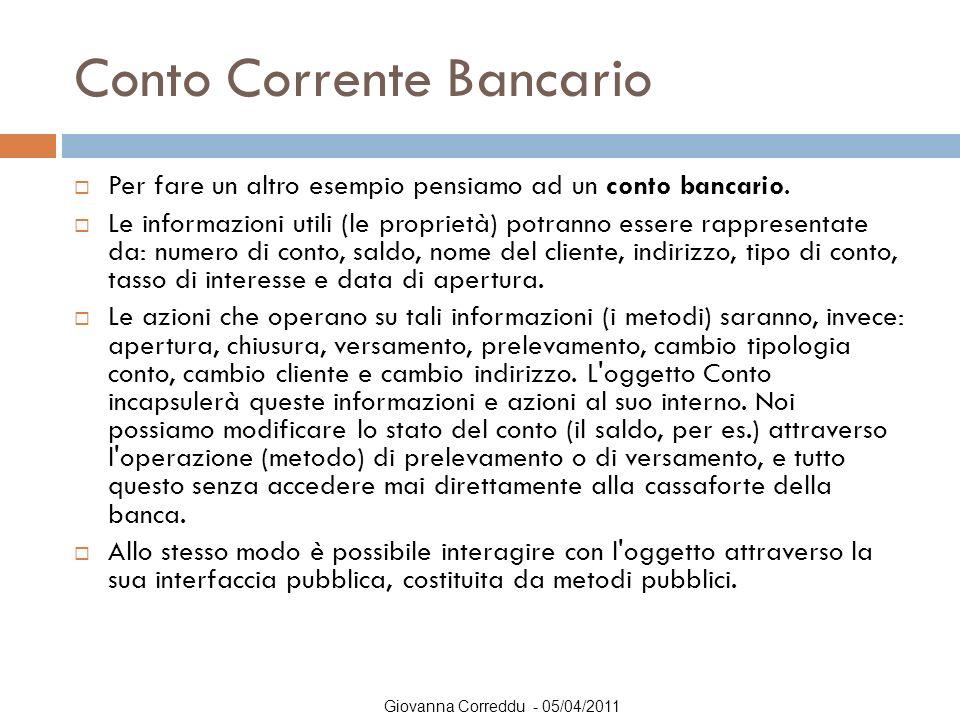 Giovanna Correddu - 05/04/2011 Conto Corrente Bancario  Per fare un altro esempio pensiamo ad un conto bancario.  Le informazioni utili (le propriet
