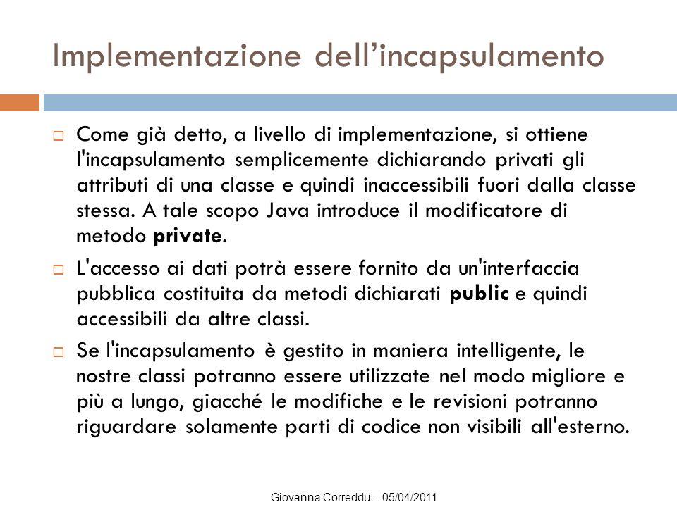 Giovanna Correddu - 05/04/2011 Implementazione dell'incapsulamento  Come già detto, a livello di implementazione, si ottiene l'incapsulamento semplic