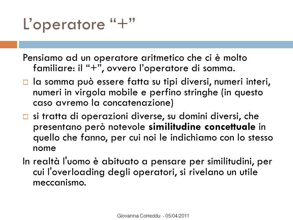 """Giovanna Correddu - 05/04/2011 L'operatore """"+"""" Pensiamo ad un operatore aritmetico che ci è molto familiare: il """"+"""", ovvero l'operatore di somma.  la"""
