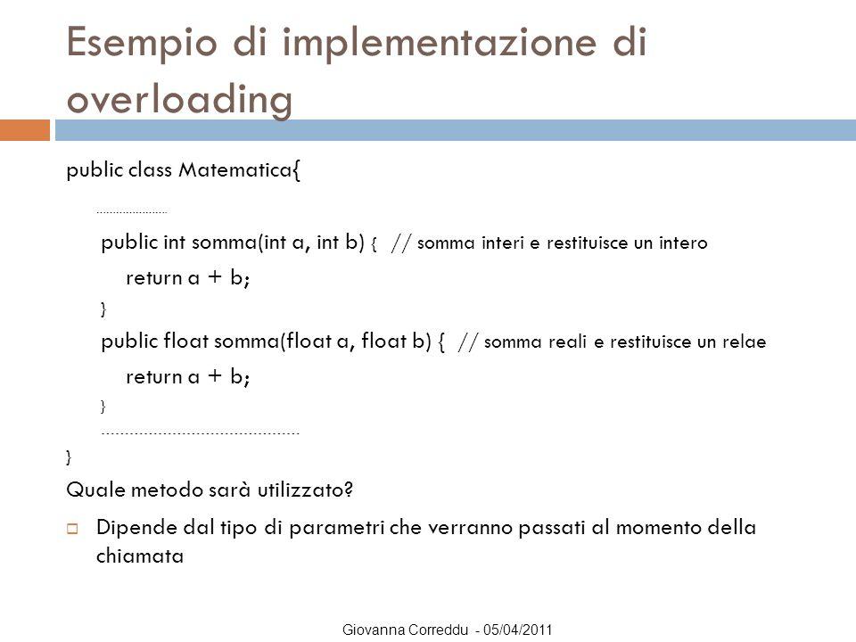 Giovanna Correddu - 05/04/2011 Esempio di implementazione di overloading public class Matematica{ …………………. public int somma(int a, int b) { // somma i