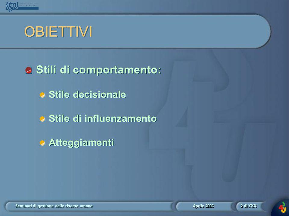 Aprile 2003 Seminari di gestione delle risorse umane2 di XXX OBIETTIVI Stili di comportamento: Stile decisionale Stile di influenzamento Atteggiamenti Stili di comportamento: Stile decisionale Stile di influenzamento Atteggiamenti