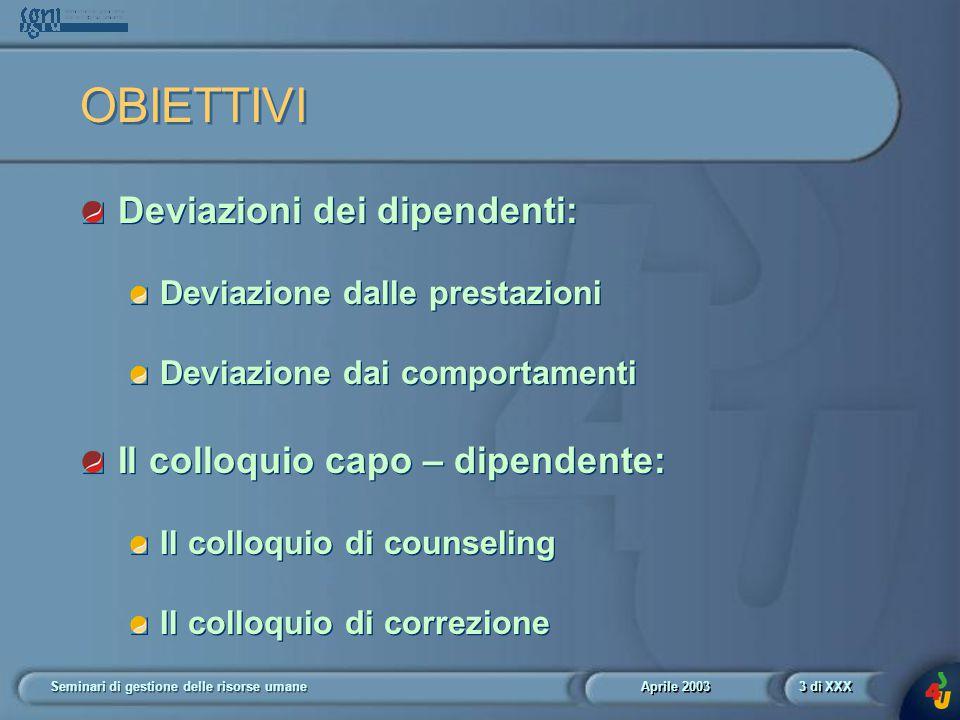 Aprile 2003 Seminari di gestione delle risorse umane4 di XXX L' ORGANIZZAZIONE DEL PENSIERO Realizzatore (es.