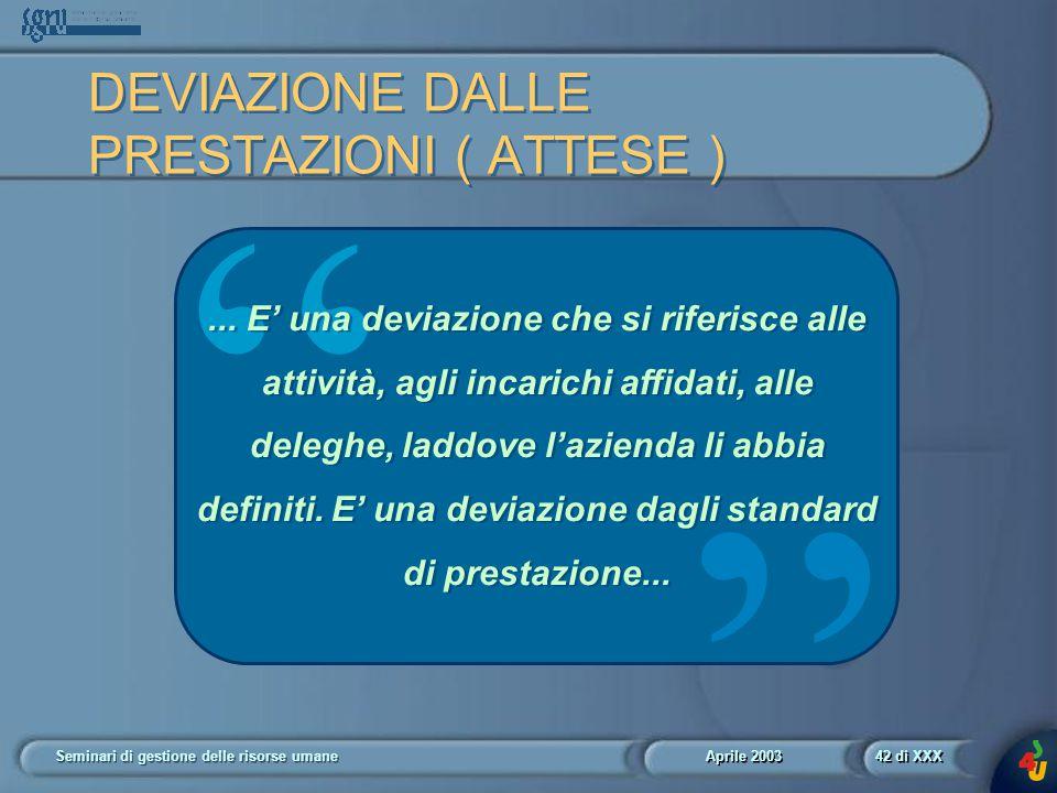 Aprile 2003 Seminari di gestione delle risorse umane42 di XXX DEVIAZIONE DALLE PRESTAZIONI ( ATTESE ) ...