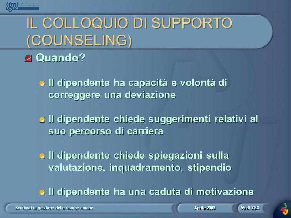 Aprile 2003 Seminari di gestione delle risorse umane55 di XXX IL COLLOQUIO DI SUPPORTO (COUNSELING) Quando.